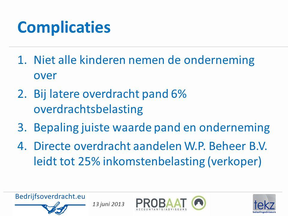 13 juni 2013 Complicaties 1.Niet alle kinderen nemen de onderneming over 2.Bij latere overdracht pand 6% overdrachtsbelasting 3.Bepaling juiste waarde