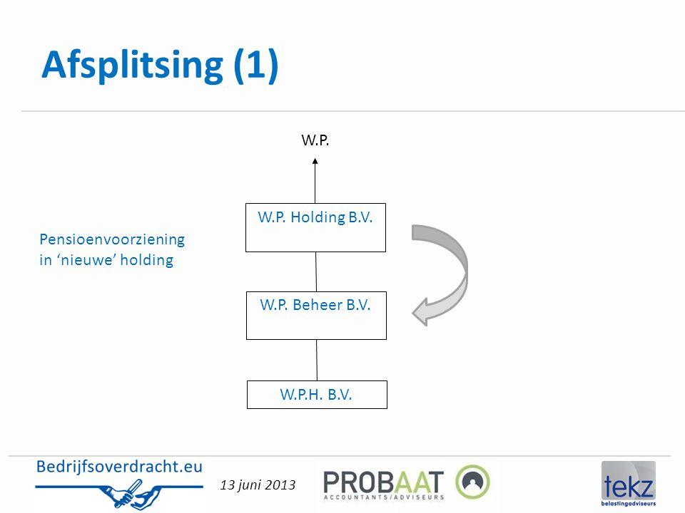 13 juni 2013 Afsplitsing (1) W.P. Holding B.V. W.P. Beheer B.V. W.P. W.P.H. B.V. Pensioenvoorziening in 'nieuwe' holding