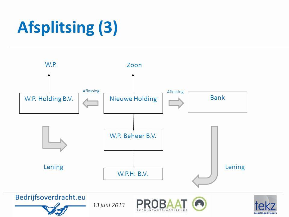 13 juni 2013 Afsplitsing (3) Nieuwe Holding W.P. Beheer B.V. W.P.H. B.V. W.P. Holding B.V. W.P. Zoon Lening Bank Aflossing Lening