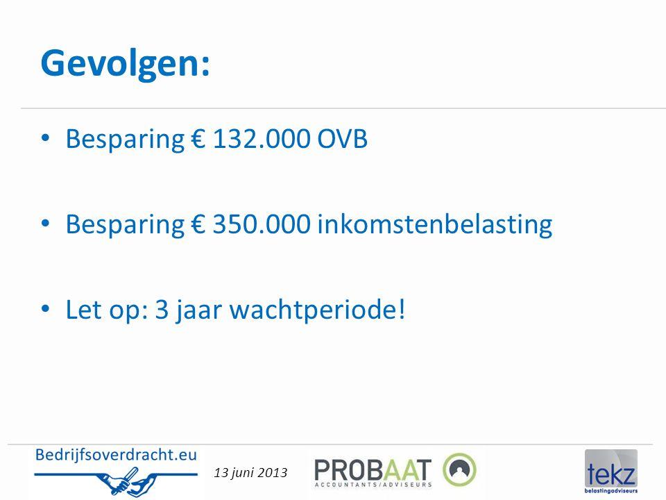 13 juni 2013 Gevolgen: • Besparing € 132.000 OVB • Besparing € 350.000 inkomstenbelasting • Let op: 3 jaar wachtperiode!