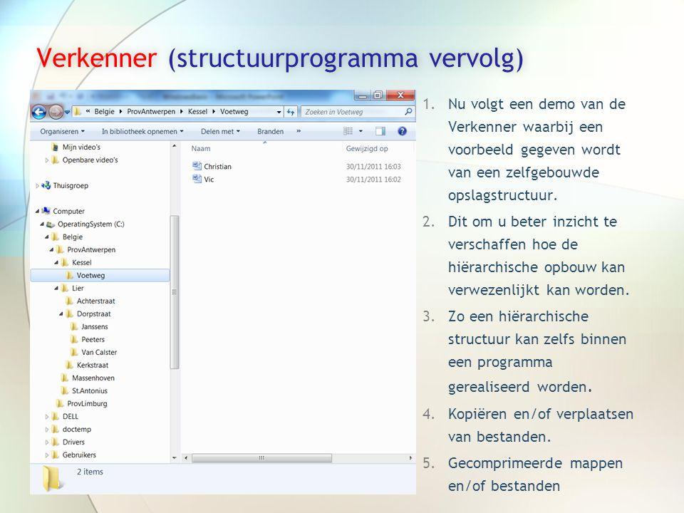Verkenner (structuurprogramma vervolg)Verkenner (structuurprogramma vervolg) 1.Nu volgt een demo van de Verkenner waarbij een voorbeeld gegeven wordt van een zelfgebouwde opslagstructuur.
