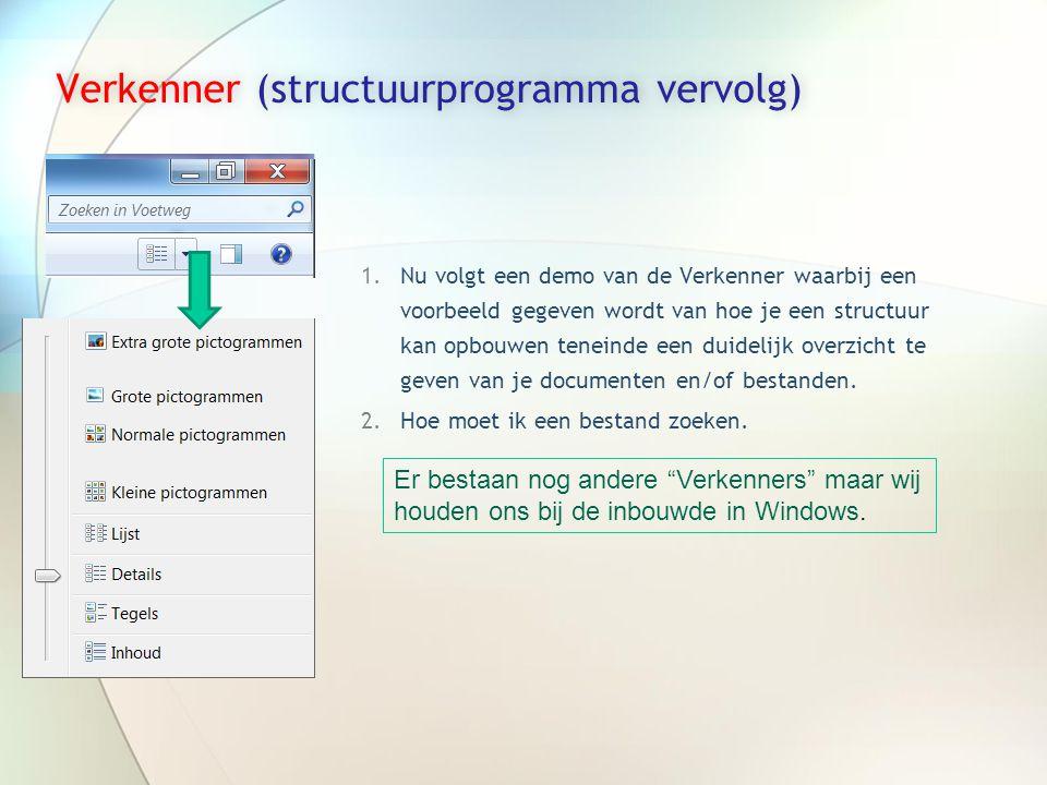 Verkenner (structuurprogramma vervolg)Verkenner (structuurprogramma vervolg) 1.Nu volgt een demo van de Verkenner waarbij een voorbeeld gegeven wordt van hoe je een structuur kan opbouwen teneinde een duidelijk overzicht te geven van je documenten en/of bestanden.