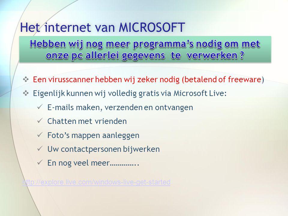 Het internet van MICROSOFTHet internet van MICROSOFT  Een virusscanner hebben wij zeker nodig (betalend of freeware)  Eigenlijk kunnen wij volledig gratis via Microsoft Live:  E-mails maken, verzenden en ontvangen  Chatten met vrienden  Foto's mappen aanleggen  Uw contactpersonen bijwerken  En nog veel meer…………..