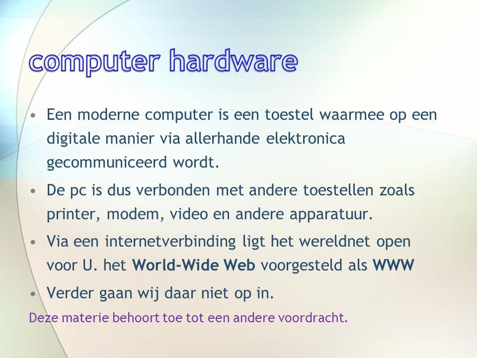 •Een moderne computer is een toestel waarmee op een digitale manier via allerhande elektronica gecommuniceerd wordt.