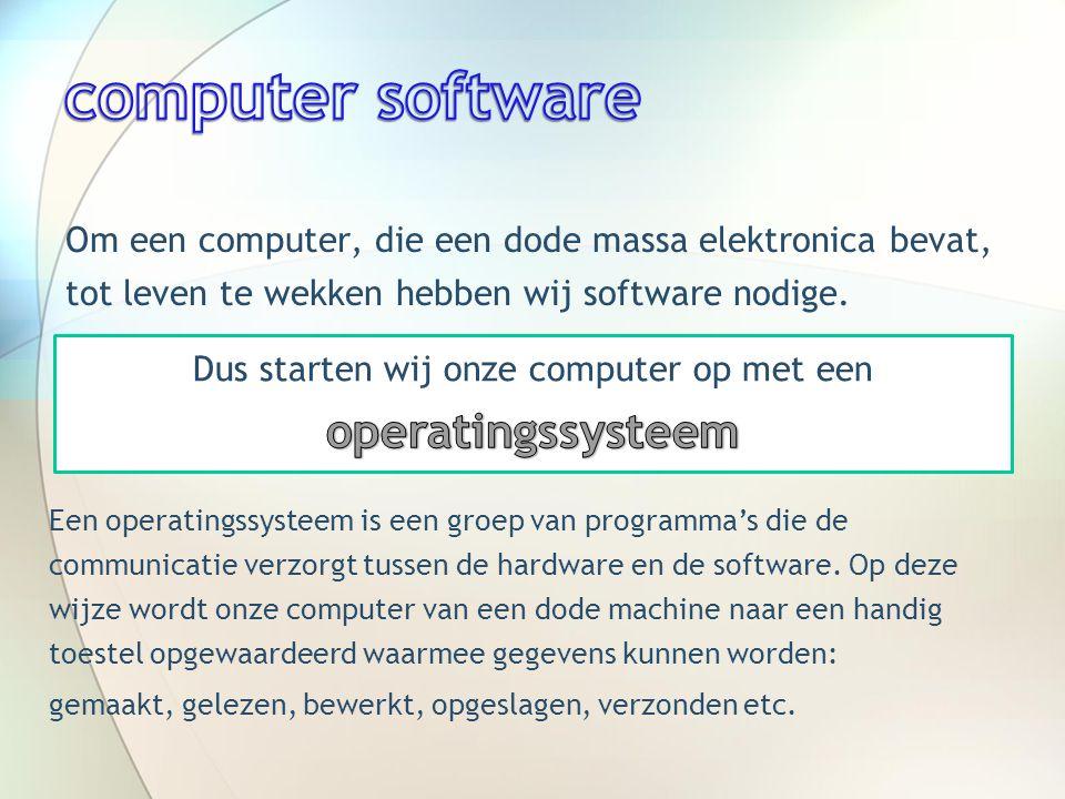  Linux of UNIX  Macintosh of APPLE  Windows van Microsoft Windows van MicrosoftWindows van Microsoft enkel dit operatingssystem gaan wij bekijken.