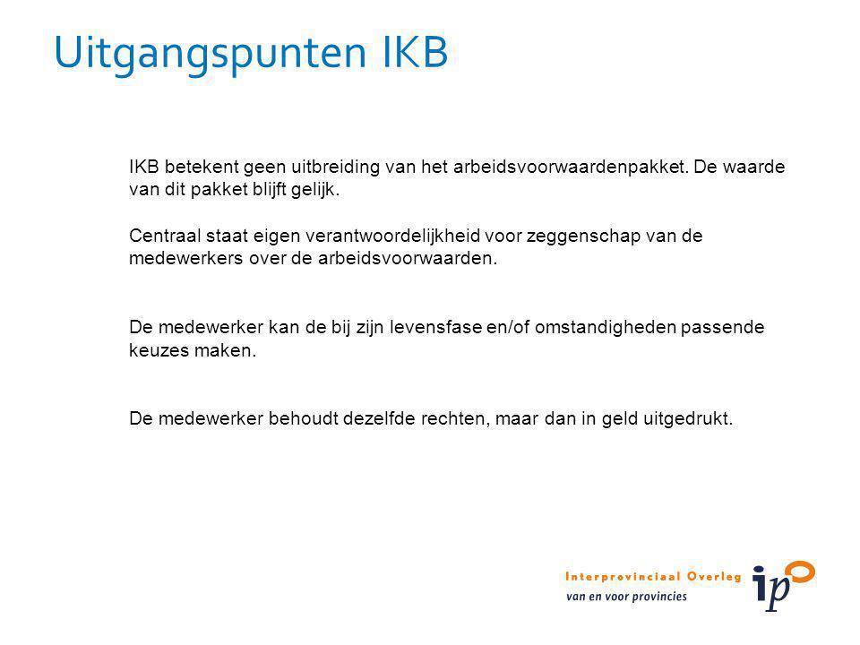 IKB betekent geen uitbreiding van het arbeidsvoorwaardenpakket. De waarde van dit pakket blijft gelijk. Centraal staat eigen verantwoordelijkheid voor