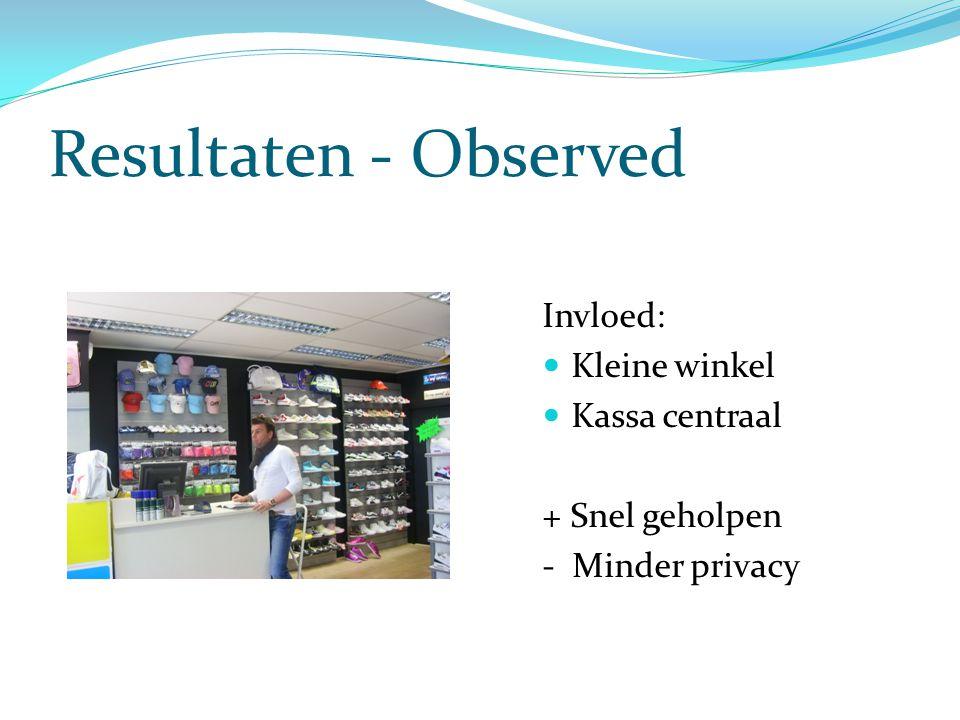 Resultaten - Observed Invloed:  Kleine winkel  Kassa centraal + Snel geholpen - Minder privacy