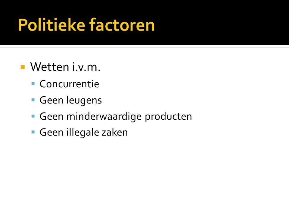  Wetten i.v.m.  Concurrentie  Geen leugens  Geen minderwaardige producten  Geen illegale zaken
