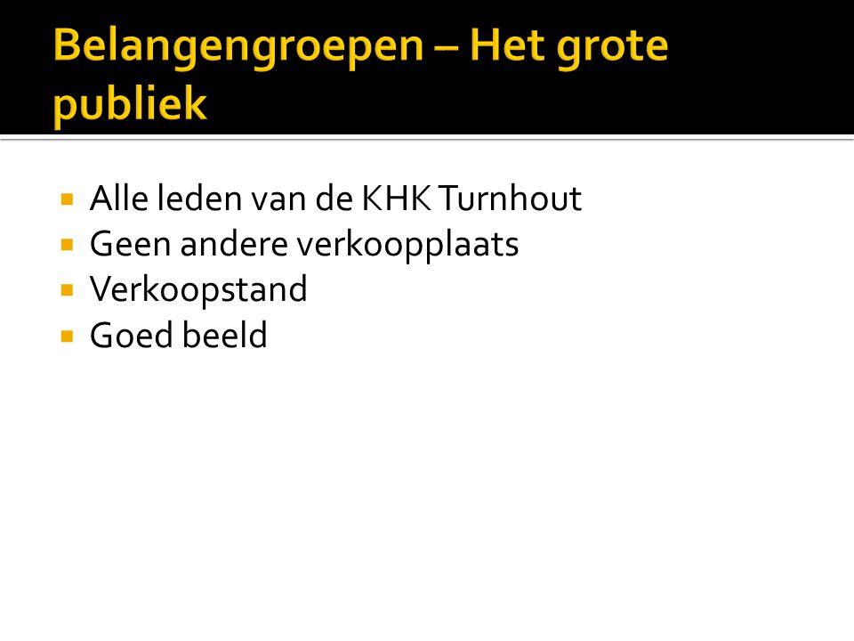  Alle leden van de KHK Turnhout  Geen andere verkoopplaats  Verkoopstand  Goed beeld