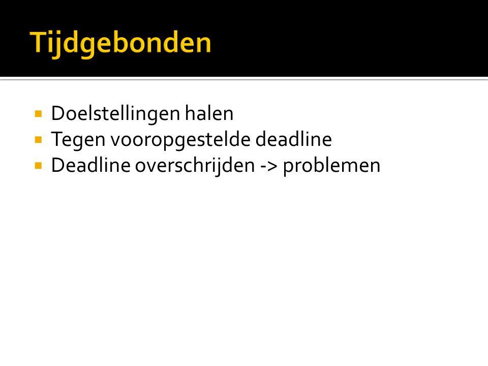  Doelstellingen halen  Tegen vooropgestelde deadline  Deadline overschrijden -> problemen