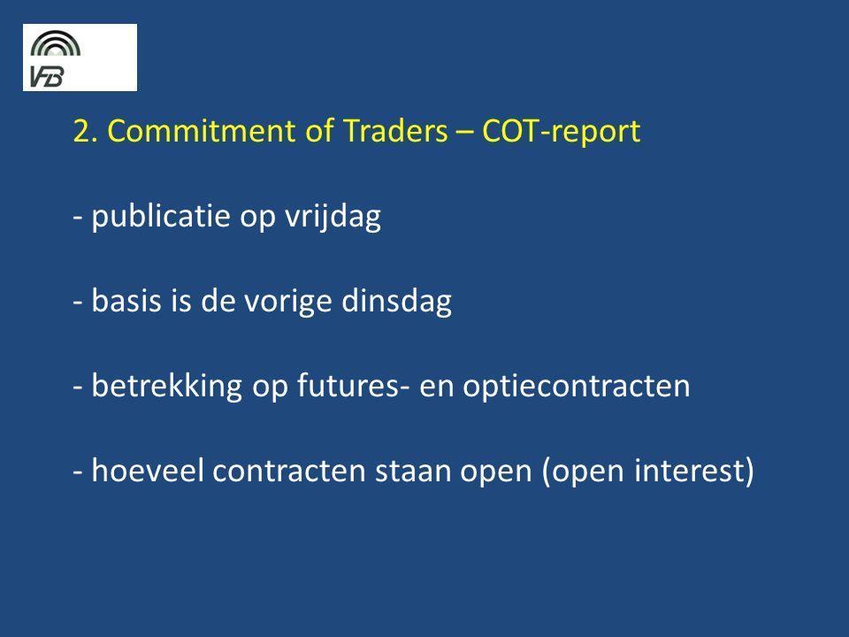 2. Commitment of Traders – COT-report - publicatie op vrijdag - basis is de vorige dinsdag - betrekking op futures- en optiecontracten - hoeveel contr