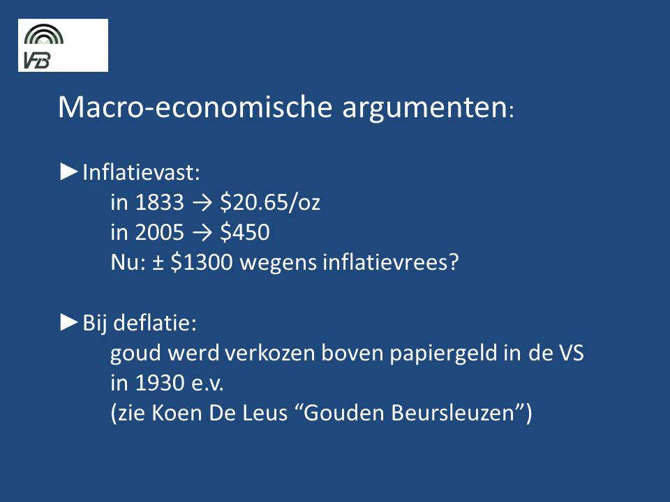 Macro-economische argumenten : ► Inflatievast: in 1833 → $20.65/oz in 2005 → $450 Nu: ± $1300 wegens inflatievrees.