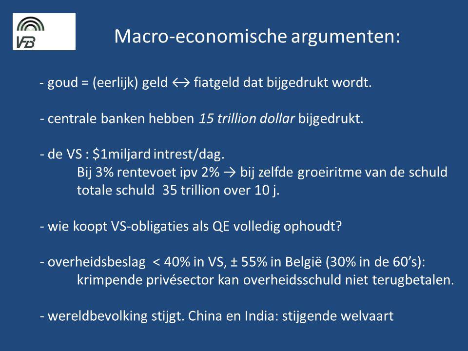 Macro-economische argumenten: - goud = (eerlijk) geld ↔ fiatgeld dat bijgedrukt wordt.