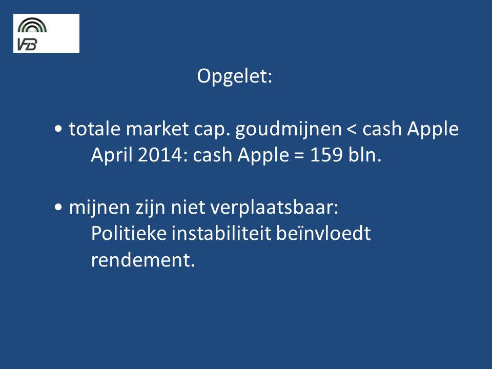 Opgelet: • totale market cap.goudmijnen < cash Apple April 2014: cash Apple = 159 bln.