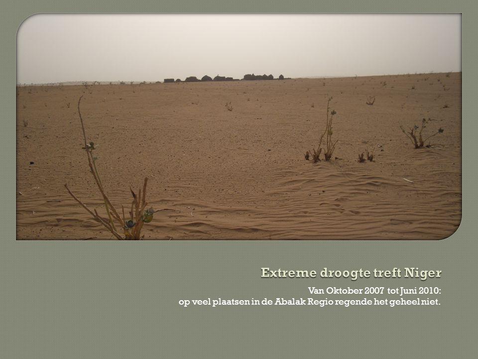 Van Oktober 2007 tot Juni 2010: op veel plaatsen in de Abalak Regio regende het geheel niet.
