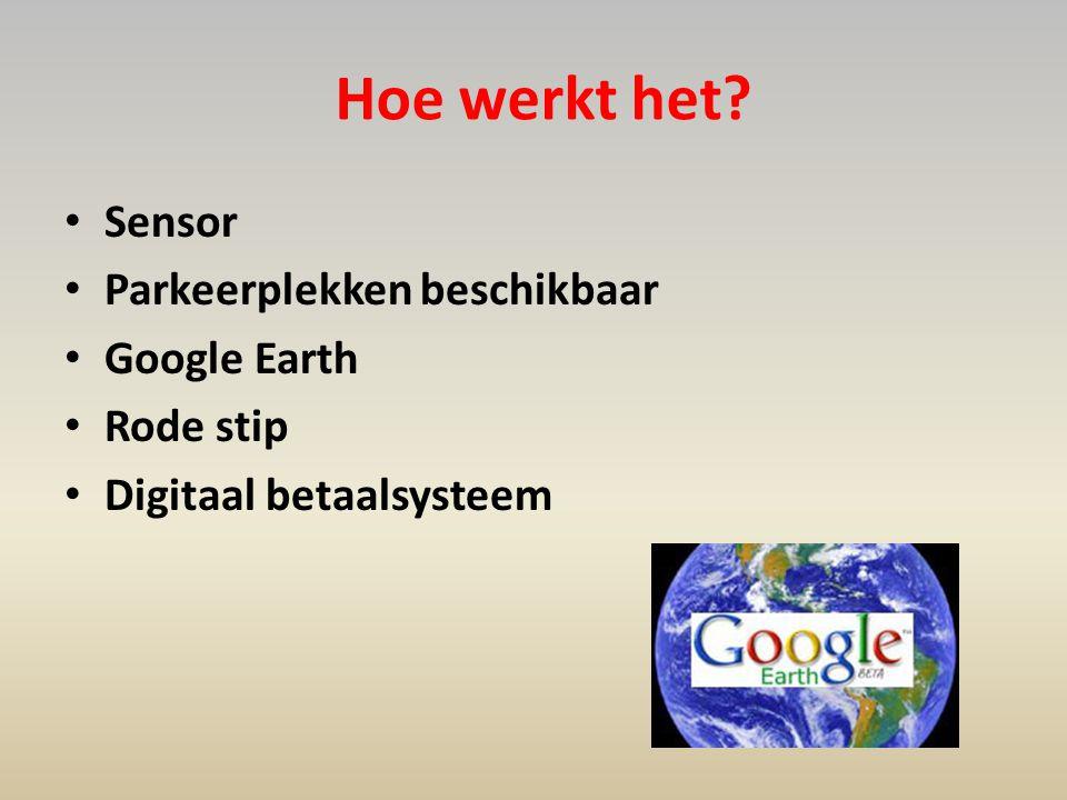 Hoe werkt het? • Sensor • Parkeerplekken beschikbaar • Google Earth • Rode stip • Digitaal betaalsysteem