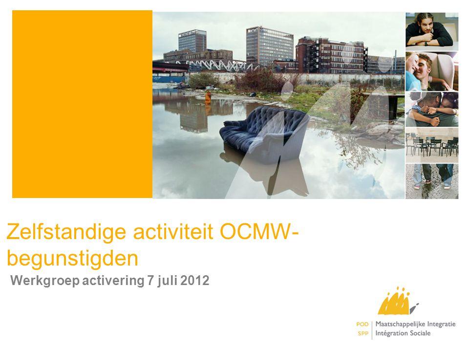Conclusie •OCMW-begunstigde (>30jr) die zelfstandige activiteit wil voorbereiden –Behoud (equivalent) leefloon en toestemming om activiteiten ter voorbereiden (max.