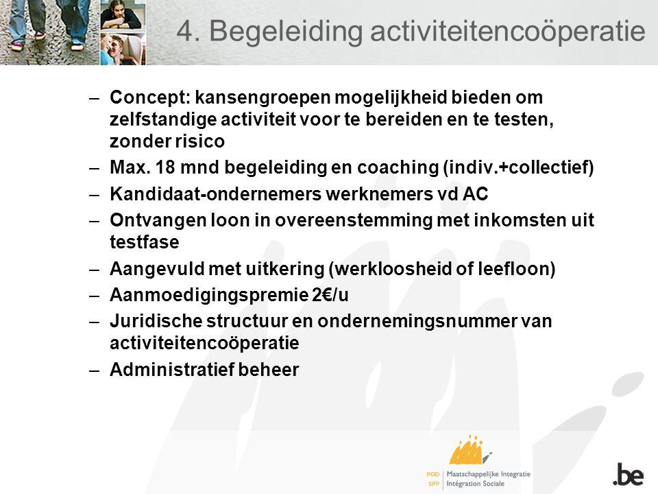 4. Begeleiding activiteitencoöperatie –Concept: kansengroepen mogelijkheid bieden om zelfstandige activiteit voor te bereiden en te testen, zonder ris