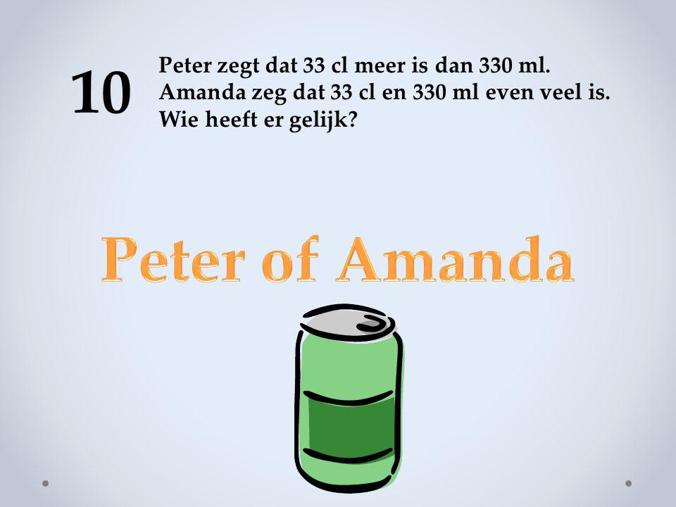 10 Peter zegt dat 33 cl meer is dan 330 ml.Amanda zeg dat 33 cl en 330 ml even veel is.