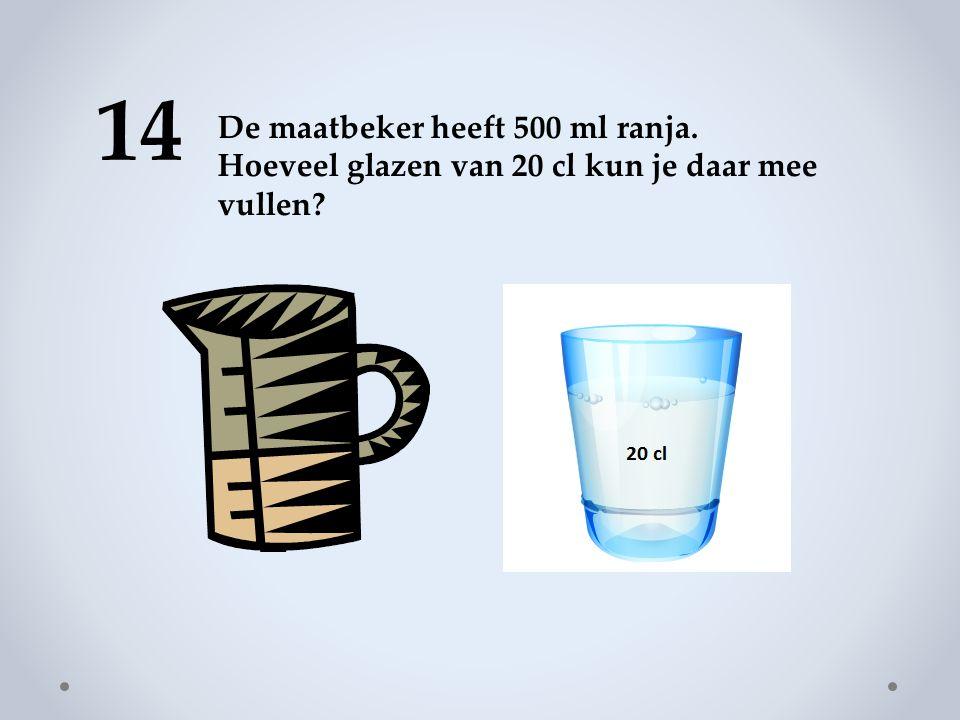 14 De maatbeker heeft 500 ml ranja. Hoeveel glazen van 20 cl kun je daar mee vullen?