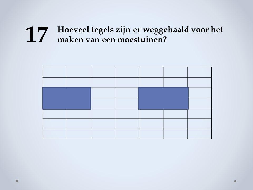 17 Hoeveel tegels zijn er weggehaald voor het maken van een moestuinen?
