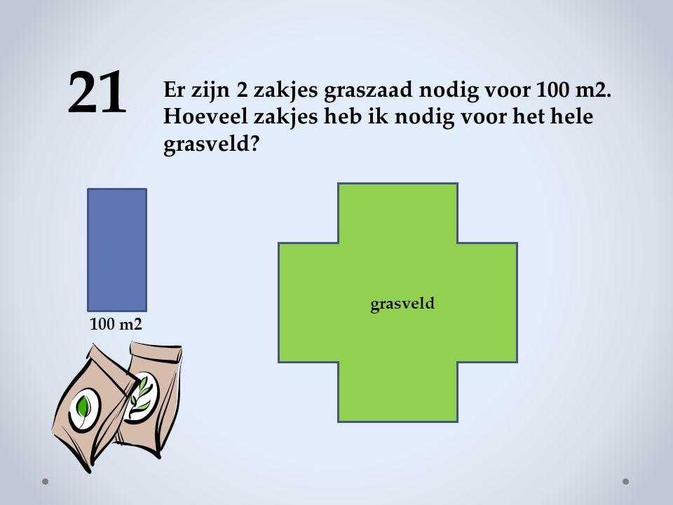 21 100 m2 Er zijn 2 zakjes graszaad nodig voor 100 m2.
