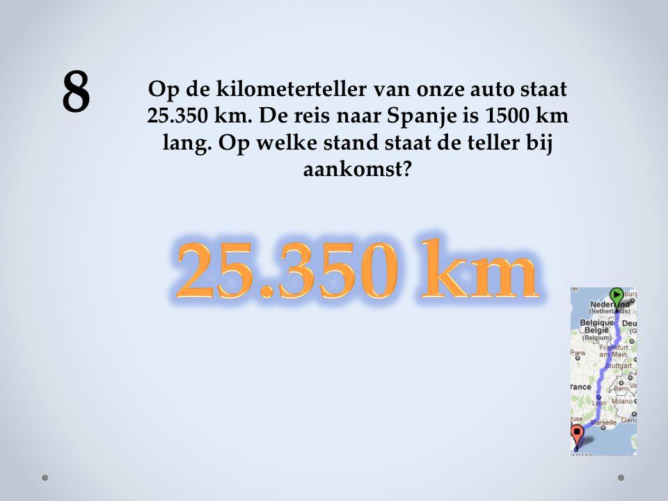 8 Op de kilometerteller van onze auto staat 25.350 km.