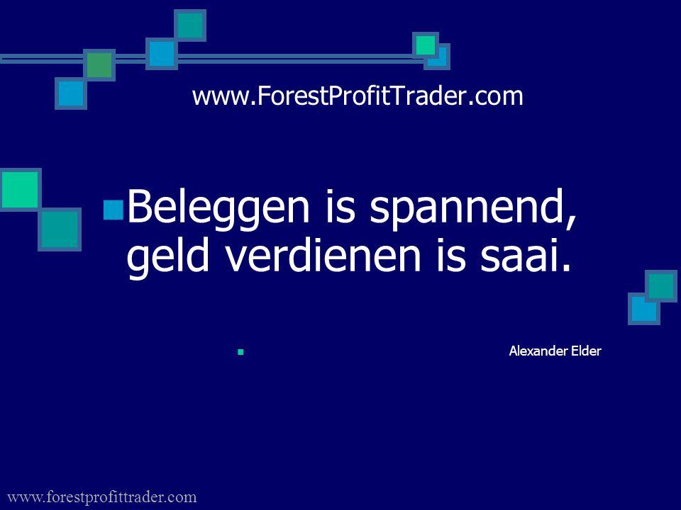 www.ForestProfitTrader.com  Beleggen is spannend, geld verdienen is saai.  Alexander Elder www.forestprofittrader.com