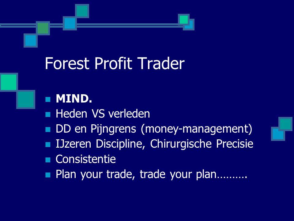 Forest Profit Trader  MIND.  Heden VS verleden  DD en Pijngrens (money-management)  IJzeren Discipline, Chirurgische Precisie  Consistentie  Pla