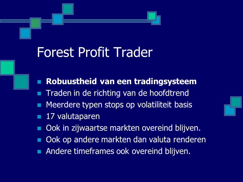 Forest Profit Trader  Robuustheid van een tradingsysteem  Traden in de richting van de hoofdtrend  Meerdere typen stops op volatiliteit basis  17