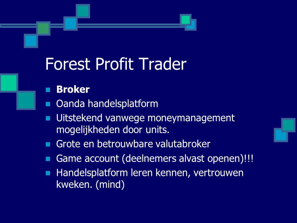Forest Profit Trader  Broker  Oanda handelsplatform  Uitstekend vanwege moneymanagement mogelijkheden door units.  Grote en betrouwbare valutabrok