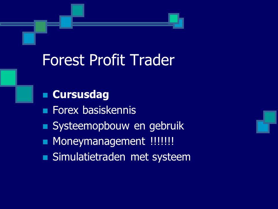Forest Profit Trader  Cursusdag  Forex basiskennis  Systeemopbouw en gebruik  Moneymanagement !!!!!!!  Simulatietraden met systeem