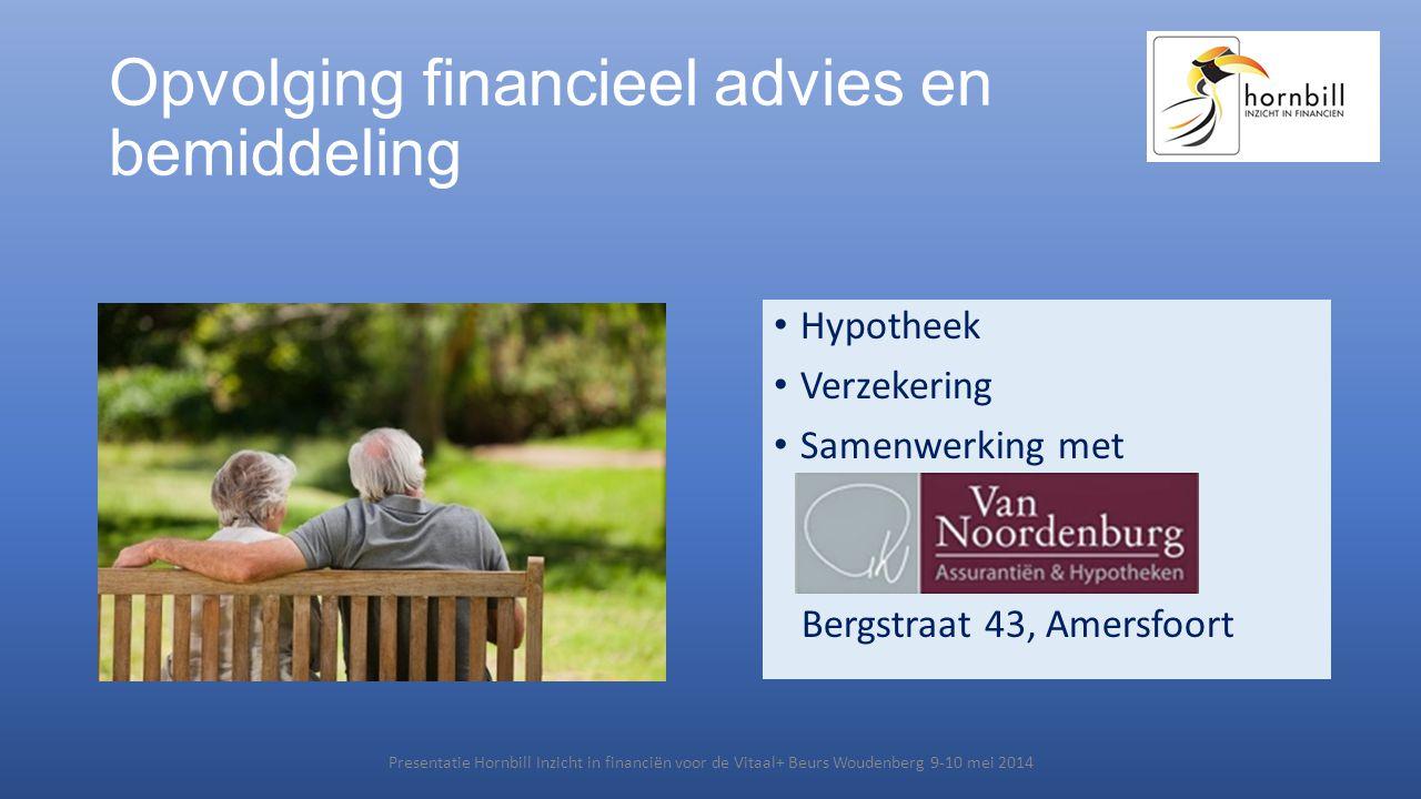 Opvolging financieel advies en bemiddeling • Hypotheek • Verzekering • Samenwerking met Bergstraat 43, Amersfoort Presentatie Hornbill Inzicht in fina