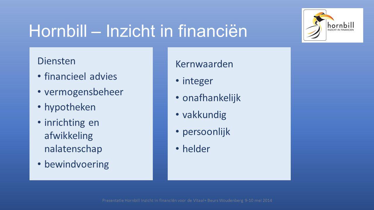 Hornbill – Inzicht in financiën Diensten • financieel advies • vermogensbeheer • hypotheken • inrichting en afwikkeling nalatenschap • bewindvoering P