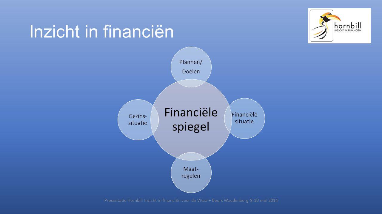 Inzicht in financiën Financiële spiegel Plannen/ Doelen Financiële situatie Maat- regelen Gezins- situatie Presentatie Hornbill Inzicht in financiën v