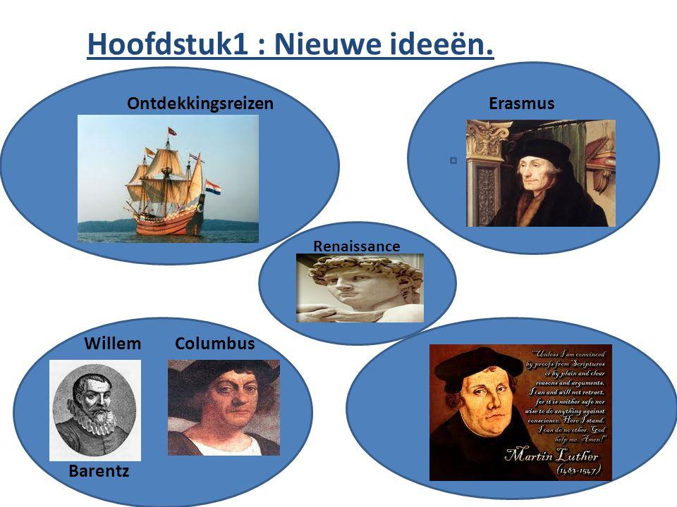 Hoofdstuk1 : Nieuwe ideeën. ErasmusOntdekkingsreizen ColumbusWillem Barentz Renaissance