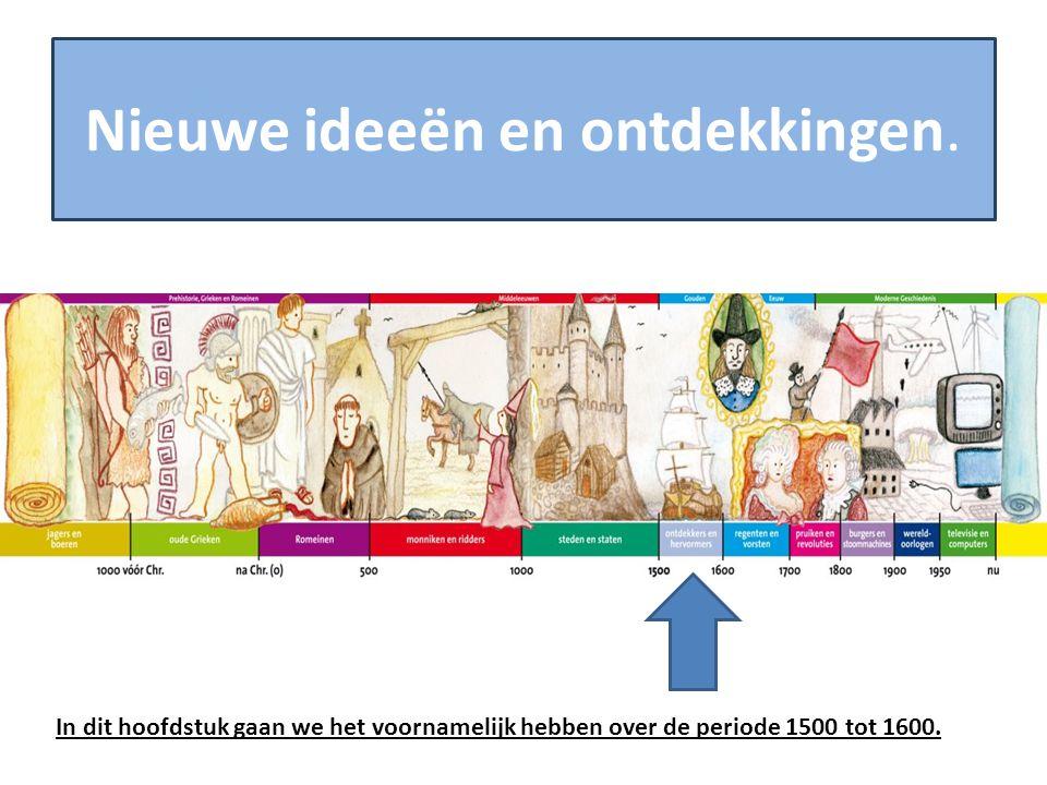 Nieuwe ideeën en ontdekkingen. In dit hoofdstuk gaan we het voornamelijk hebben over de periode 1500 tot 1600.