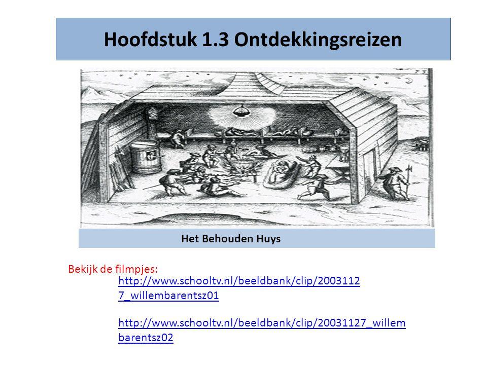 Hoofdstuk 1.3 Ontdekkingsreizen Het Behouden Huys Bekijk de filmpjes: http://www.schooltv.nl/beeldbank/clip/2003112 7_willembarentsz01 http://www.scho