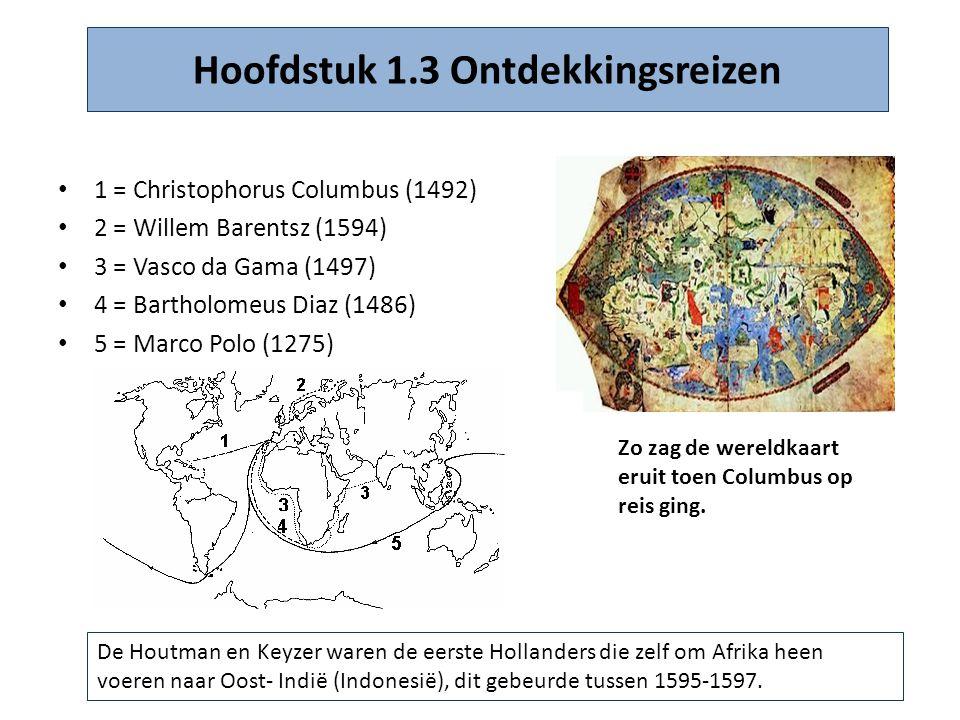 Hoofdstuk 1.3 Ontdekkingsreizen • 1 = Christophorus Columbus (1492) • 2 = Willem Barentsz (1594) • 3 = Vasco da Gama (1497) • 4 = Bartholomeus Diaz (1