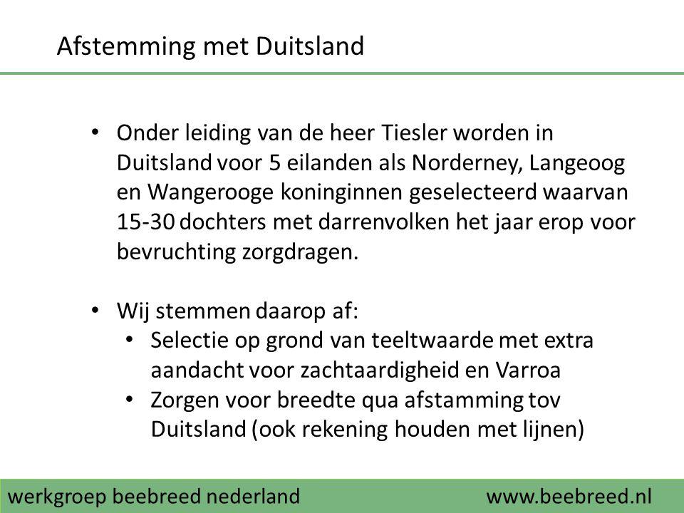 Afstemming met Duitsland • Onder leiding van de heer Tiesler worden in Duitsland voor 5 eilanden als Norderney, Langeoog en Wangerooge koninginnen ges