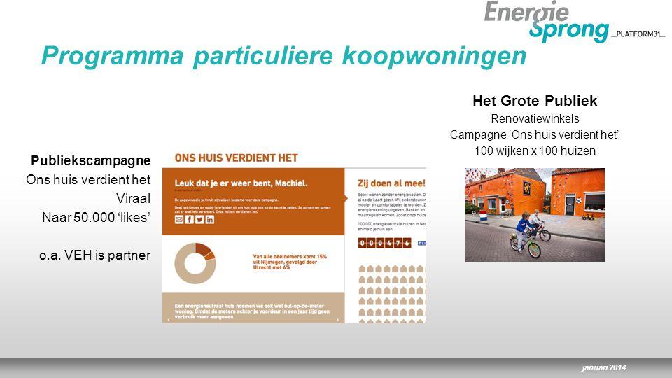 januari 2014 Publiekscampagne Ons huis verdient het Viraal Naar 50.000 'likes' o.a.