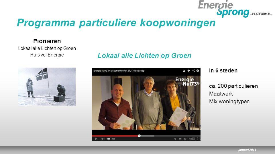 januari 2014 Community pioniers 450 pioniers zijn lid 100 huizen uitgelicht Cursusaanbod Open deurendag Pionieren Lokaal alle Lichten op Groen Huis vol Energie Programma particuliere koopwoningen