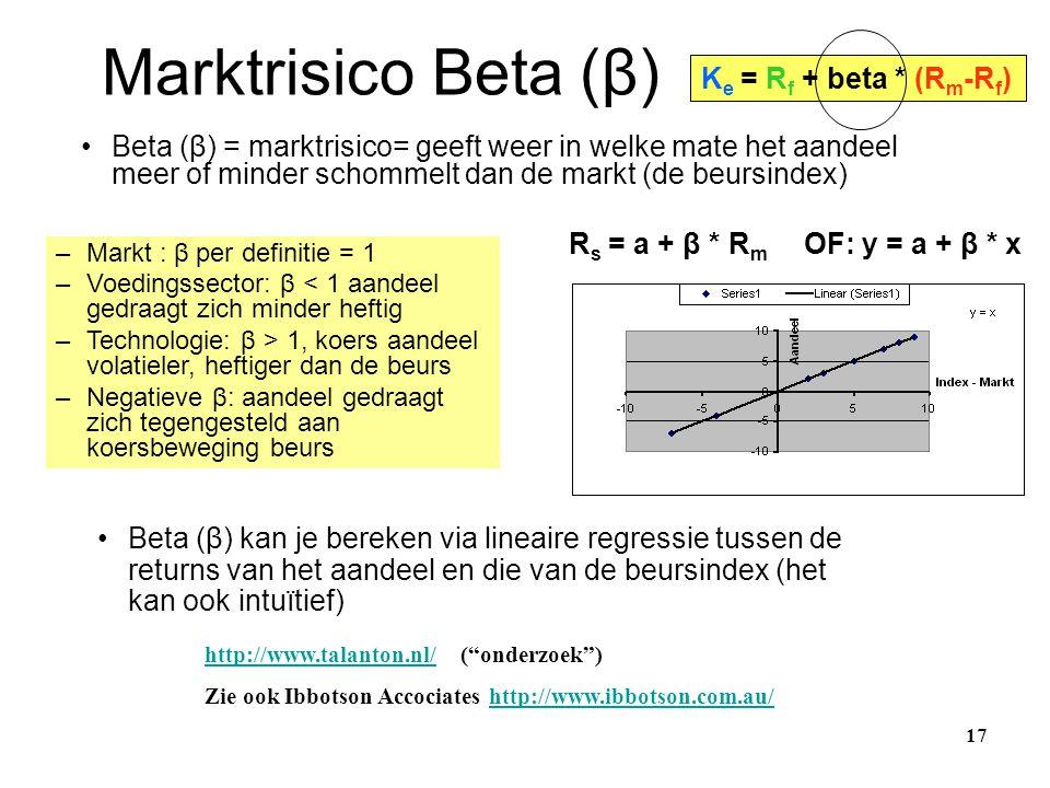 Marktrisico Beta (β) 17 R s = a + β * R m OF: y = a + β * x •Beta (β) kan je bereken via lineaire regressie tussen de returns van het aandeel en die v