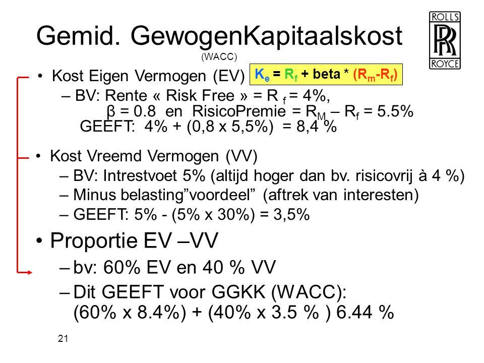 21 Gemid. GewogenKapitaalskost (WACC) •Proportie EV –VV –bv: 60% EV en 40 % VV –Dit GEEFT voor GGKK (WACC): (60% x 8.4%) + (40% x 3.5 % ) 6.44 % •Kost