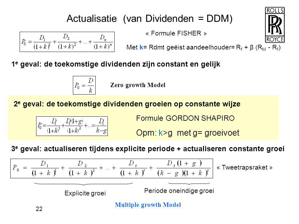 22 Actualisatie (van Dividenden = DDM) 1 e geval: de toekomstige dividenden zijn constant en gelijk 2 e geval: de toekomstige dividenden groeien op co