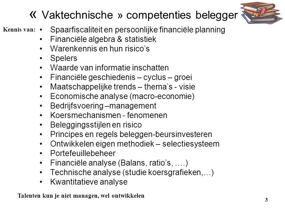 3 « Vaktechnische » competenties belegger •Spaarfiscaliteit en persoonlijke financiële planning •Financiële algebra & statistiek •Warenkennis en hun r