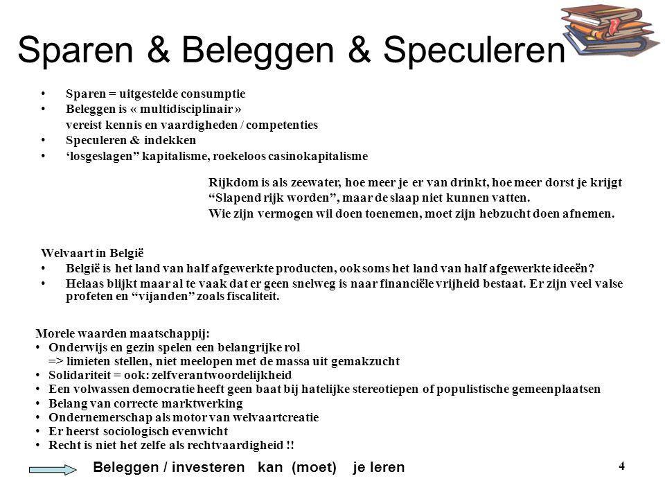 4 Sparen & Beleggen & Speculeren •Sparen = uitgestelde consumptie •Beleggen is « multidisciplinair » vereist kennis en vaardigheden / competenties •Sp