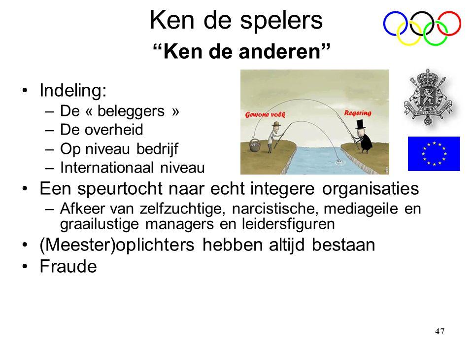 47 Ken de spelers •Indeling: –De « beleggers » –De overheid –Op niveau bedrijf –Internationaal niveau •Een speurtocht naar echt integere organisaties
