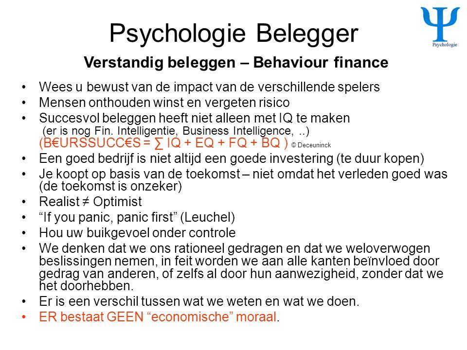 Psychologie Belegger •Wees u bewust van de impact van de verschillende spelers •Mensen onthouden winst en vergeten risico •Succesvol beleggen heeft ni