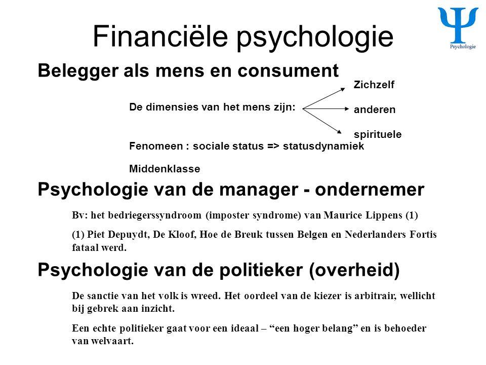 Financiële psychologie De dimensies van het mens zijn: Zichzelf anderen spirituele Belegger als mens en consument Psychologie van de manager - onderne
